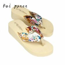 High Quality New Style Bohemia Floral Beach Sandals Wedge Platform Thongs Slippe