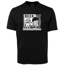 New Beer with your Lunch Black T Shirt 100% Cotton Size S -5XL +7XL