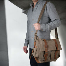 Men's Military Canvas Leather Bag Satchel School Shoulder Messenger Vintage Bag