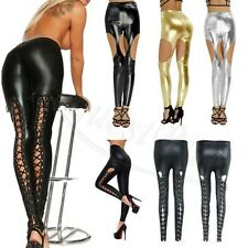 Women PU Leather Wetlook Fashion Shiny Skinny Stretchy Cutout Leggings Pants New