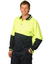 NEW MENS HI-VIS COTTON LONG SLEEVE SAFETY POLO TOP TSHIRT WORKWEAR FLURO YELLOW