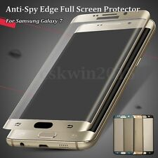 Full Screen Tempered Glass Protector Anti-Spy Privacy For Samsung Galaxy 7 Edge