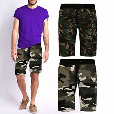 MENS ABOVE KNEE CAMOUFLAGE REGULAR FIT FLEECE JERSEY ARMY STYLE COTTON SHORTS
