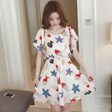Korean Sweet Summer Fashion Women Long Section Sleeveless Print Flounced Dress