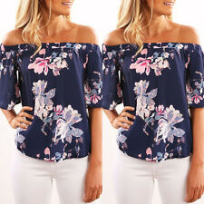 Women Floral Flower Casual Loose Short Sleeve Tee-Shirt Blouses Party Club Tops