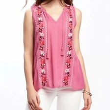 Womens Pink/White Floral Embroidered Tassels Sleeveless Blouse Tops Shirt SML