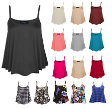 Womens Plain Swing Vest Sleeveless Top Strappy Cami Plus Size Flared 8-26 cmisml