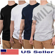 NWT Lot 3 6 Mens 100% Cotton Heavy Crew Neck T Shirt Basic Undershirt Solid S~XL