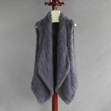 Real Rabbit Fur Slim Vest Knitted Thick Fur Long Collar Gilet With Top Quality