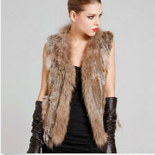 Real Knitted Rabbit Tassel Fur With Raccoon Fur Collar Waistcoat Fashioin Vest