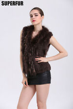 Real Knitted Rabbit Fur Waistcoat/Vest/Gilet Natural Fur Vest Coat For Women's