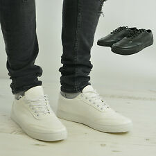 Mens White Shoes Faux Leather Lace Up Casual Designer Trainers Pumps Plimsoles