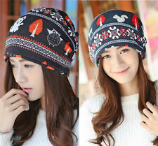 Women Deer Knitted Winter Warm Hat Braided Baggy Beret Beanie Cap Hat Scarf New