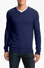 Vince Navy100% Cashmere V-Neck Sweater Pullover Blue Ultra Marine XL; NWT $295