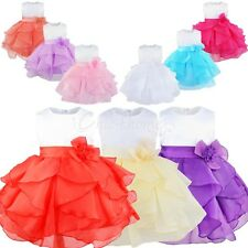 Baby Flower Girls Bow Dress Princess Birthday Wedding Bridesmaid Pageant Formal