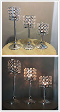 Set Of 3 Crystal Votive Tealight Candle Holders Wedding Centerpieces Candelabra