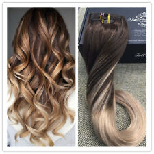 Ash Blonde Ombre Color 7pcs 70g Balayage Clip in Hair Extensions Remy Human Hair
