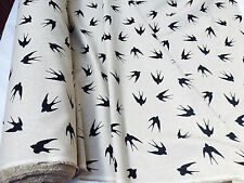 BLACK SWALLOW Bird Fabric - Curtain Upholstery Cotton Material 55' wide canvas
