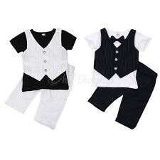 Baby Boys Kids Gentleman Outfits Suit Formal Party Wedding Tuxedo Tops+Shorts