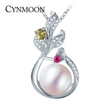 CYNMOON natural freshwater pearl pendant necklace silver jewelry for Women