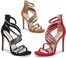 WOMENS FAUX SUEDE ZIP BACK STRAPPY PARTY SANDALS HIGH HEEL PROM STILETTO SHOES