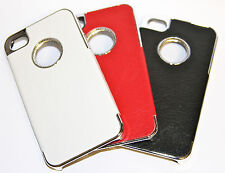 X2 LEATHER CHROME CIRCLE IPHONE 4 4S 4G HARD CASE 3 COLOURSFREE SCREEN PROTECTOR