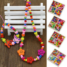 Multicolor Wooden Beads DIY Jewelry Necklaces Bracelets Making Handcraft Adroit