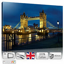 LARGE UK LONDON BRIDGE NIGHT - STRETCHED CANVAS WALL ART PRINTS PICTURES