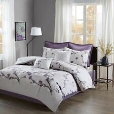 Luxury 8pc Purple & Grey Floral Cotton Comforter Set AND Decorative Pillows