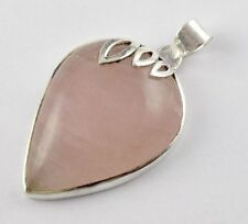 Stunning Design 925 Sterling Silver Natural Rose Pink Quartz Gemstone Pendant