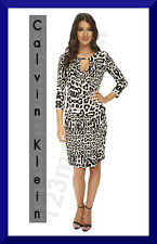 CALVIN KLEIN NEW Animal Print Keyhole Multi-Color 3/4Sleeve Polyester Mini Dress