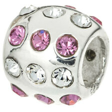 Sterling Silver Round Fancy Crystal Disco Ball Bead For European Charm Bracelets