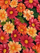 """""""Blossom"""" Packed Daisies Pink Orange Yellow on Black Cotton Quilting Fabric"""