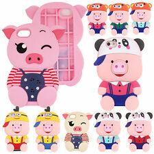 For iPhone 6 7 7s Plus 3D Cute Pig Shape Soft Rubber Shockproof Back Case Cover