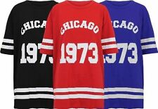 Ladies Women USA Varsity Chicago T Shirt Top Tee Oversize American Football Vest