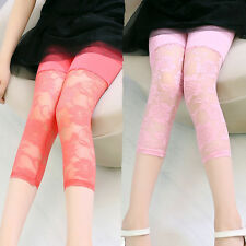 Baby Kids Skinny Cropped Leggings Lace Solid Warm Stretchy Girls Leggings Pants