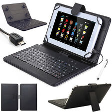 For 7'' 8'' 10'' inch Tablets Micro USB Keyboard w/ PU Leather Case Cover+Stylus
