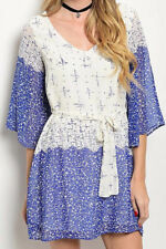 S-M-L Chiffon Printed Belted Dress - V Neck - Blue Soft White
