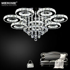 Modern LED Chandelier Stainless Steel Crystal Lamp Diamond Ring Ceiling Lighting