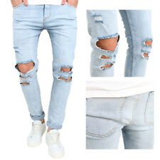 Mens Bleached Blue Distressed Denim Pants Slim Skinny Ripped Destroyed Jeans