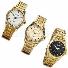 Fashion Mens Gold Stainless Steel Luxury WristWatch Quartz Analog Wrist Watch