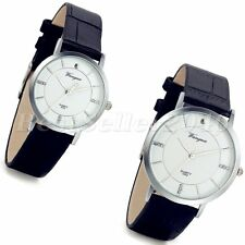Fashion Mens Womens Round Dial Leather Band Sport Quartz Analog Wrist Watch Gift