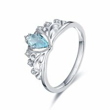 100% 925 Silver Princess Queen Crown Wedding Ring Aquamarine Engagement  Jewelry