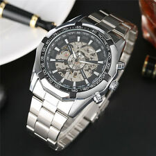 Mens Luxury Auto Sport Skeleton Analog Mechanical Wrist Watch Stainless Steel