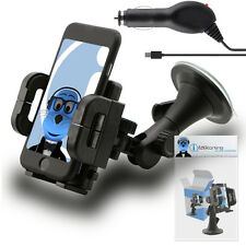 Rotating Car Holder & Micro USB Charger for Alcatel One Touch 606 Chat