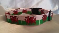 Handmade Dog Collar-Wales/Welsh Flag  (Matching Lead available)