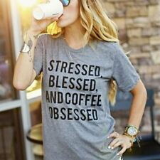 """Stressed, Blessed, and Coffee Obsessed"" Short Sleeve T-Shirt Tee"