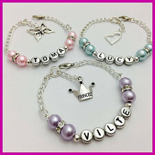 Girls Ladies Personalised any NAME chain beaded charm Bracelet PARTY BAG gift