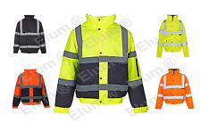 HI VIZ VIS JACKET HIGH VISIBILITY REFLECTIVE WATERPROOF WORKWEAR Bomber Jacket