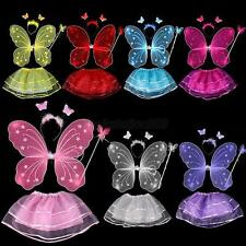 1/3/4Pc Kid Girl Angel Butterfly Fairy Wing Dress Up Party Halloween Costume Set